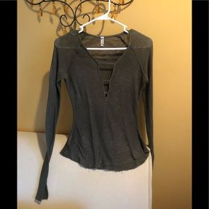 Free people long sleeve olive shirt